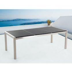 Stół czarny polerowany ze stali nierdzewnej 220cm - granitowy blat - dzielona płyta - GROSSETO