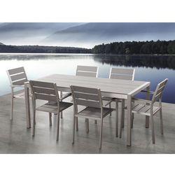 Aluminiowe meble ogrodowe szare dla 6 osób, Polywood, VERNIO