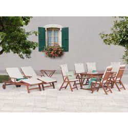 Stół rozkładany + 6 krzeseł + 2 leżanki + stolik + beżowe poduchy - TOSCANA