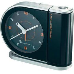 Zegar analogowy DCF z projektorem, czarno-srebrny, 38 x 150x 144 mm, zasilanie: 2 bateri