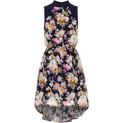 Sukienka z dłuższym tyłem bonprix ciemnoniebieski z nadrukiem