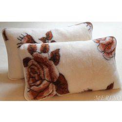 Poduszka z wełny merynosa 50x60 - Róża brąz