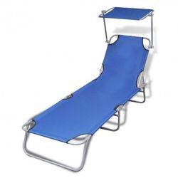 Leżak składany z baldachimem 189 x 58 x 27 cm, niebieski Zapisz się do naszego Newslettera i odbierz voucher 20 PLN na zakupy w VidaXL!