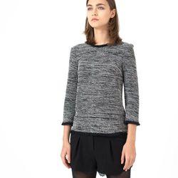 Sweter ze skręconych włókien lureksowych wykończony frędzlami