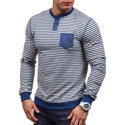 Niebieska bluza męska bez kaptura Denley 3759 - NIEBIESKI