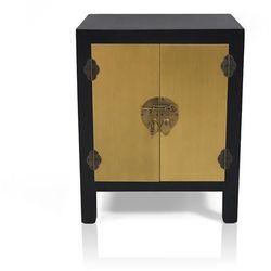 Komoda, stolik nocny, metalowe okucia, styl azjatycki, czarno-złoty mat.