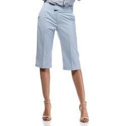 Błękitne Stylowe Spodnie do Kolan z Szerokimi Nogawkami