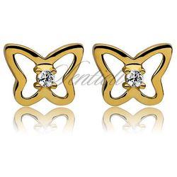 Srebrne kolczyki pr925 Cyrkonia biała motylki pozłacane - Żółte złoto