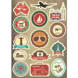 Famous Scenic Spot Vintage Car sticker Luggage suitcase trolley travel bag Laptop stickers rock guitar skateboard Wall Stickers