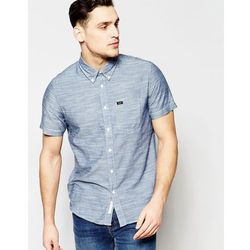 Lee Regular Fit Shirt Button Down Short Sleeve Chambray in Navy - Navy