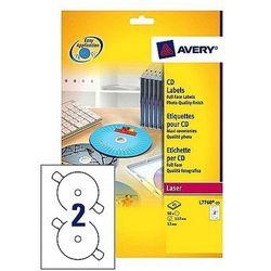Etykiety samoprzylepne na płyty CD/DVD A4, białe błyszczące Avery Zweckform L7760-25
