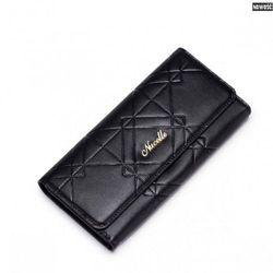 Długi modny portfel damski Czarny