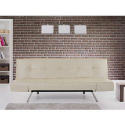 Rozkladana sofa bezowa ruchome podlokietniki BRISTOL