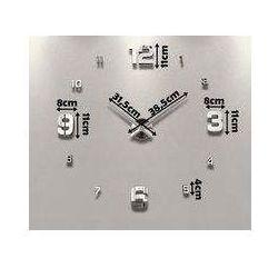 Duży nowoczesny zegar na ścianę srebrne cyfry duże i małe