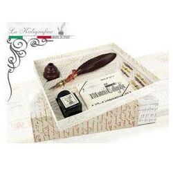 Zestaw piśmienniczy - gęsie pióro + drewniana podstawka + kpl. Stalówek + tusz