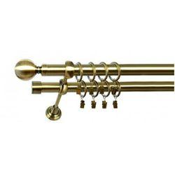 Karnisz Podwójny MARTA Ø19/19mm Kula : dlugosc karniszy - 200 cm, Rodzaj - Metalowy, Kolor Karnisza - Tytan, Mocowanie - Ścienne
