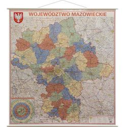 Województwo Mazowieckie mapa ścienna administracyjno-drogowa 1:225 000