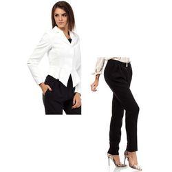 Zestaw Taliowany krótki żakiet ecru i spodnie chino czarne