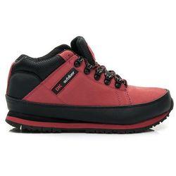 SKÓRZANE Męskie wygodne buty Trekkingowe - odcienie czerwieni