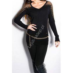 Czarny Dzianinowy sweter z gipiurową koronką oraz cyrkoniami| swetry damskie