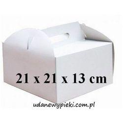 KARTON PUDEŁKO NA TORT BIAŁY Z UCHWYTEM 21x21x13cm
