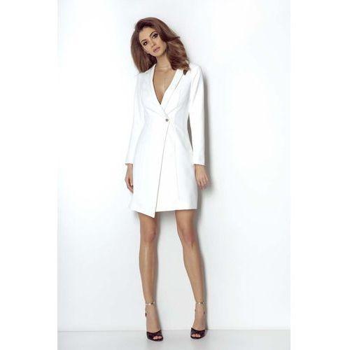 116df23602 Śmietankowa Elegancka Płaszczowa Sukienka na Jeden Guzik - porównaj ...
