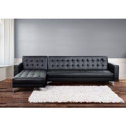 Sofa czarna - kanapa - skórzana - rozkladana - naroznik - ABERDEEN