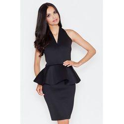 Ekskluzywna sukienka z baskinką czarna