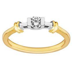 Pierścionek zaręczynowy z żółtego złota z brylantem 0,17ct - PB/027b
