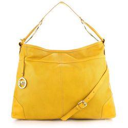 Żółta torebka ze skóry perforowanej