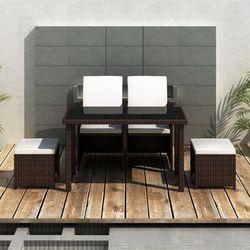 vidaXL Zestaw mebli Rattanowych (Stół + 2 Krzesła Taborety) Brązowy Darmowa wysyłka i zwroty