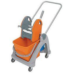 Wózek pojedynczy z tworzywa sztucznego z aluminiową rączką, prasą i dodatkowym wiadrem.