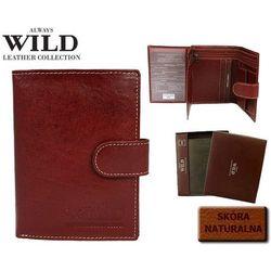 Męski portfel skórzany ALWAYS WILD D-1072L-CAU bordowy - zapinany