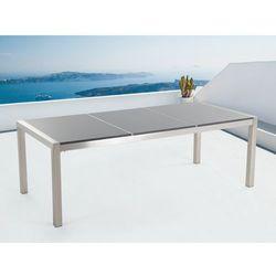 Stół szary polerowany ze stali nierdzewnej 220cm - granitowy blat - dzielona płyta - GROSSETO