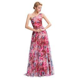 Długa suknia w róże na jedno ramię   Suknie na studniówkę wesele, dla druhen