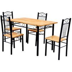 vidaXL Stół kuchenny z 4 krzesłami w kolorze jasnego drewna. Darmowa wysyłka i zwroty