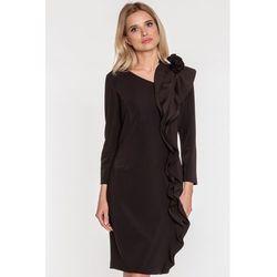6f369dfde8 suknie sukienki czarna wizytowa sukienka koronkowa ze stojka z ...