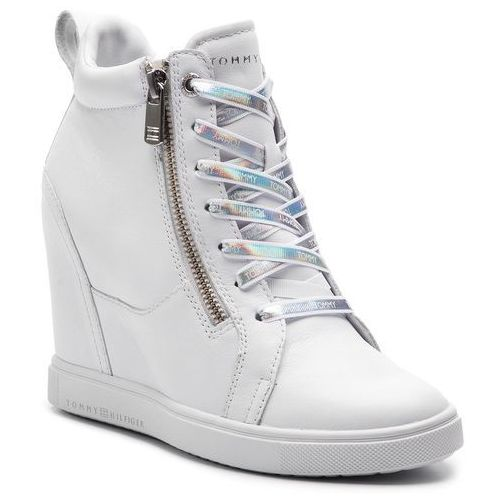 6b94231f9809a Sneakersy TOMMY HILFIGER - Iridescent Dress Sneaker FW0FW03921 White 100