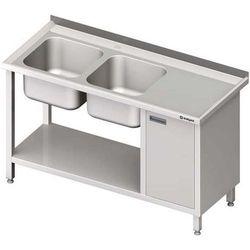 Stół ze zlewem dwukomorowym z szafką i półką STALGAST 1400x700x850 lewy