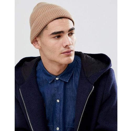 ffcd7a24b5b9c4 ASOS DESIGN fisherman beanie in stone recycled polyester - Stone ...