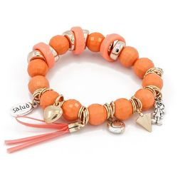 BRANSOLETKA ORANGE&CHARMS - ORANGE