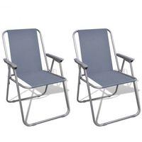 Zestaw 2 składanych krzeseł kempingowych z torbą szare Zapisz się do naszego Newslettera i odbierz voucher 20 PLN na zakupy w VidaXL!