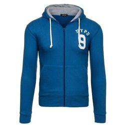 Niebieska bluza męska z kapturem z nadrukiem Denley 1025 - NIEBIESKI Bluzy New Men za 39,99 (-33%)