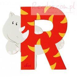Drewniana literka R, zwierzęta