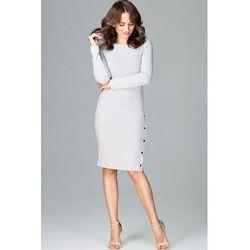 1cf0470969 suknie sukienki ecru elegancka sukienka kopertowa zapinana na boku ...