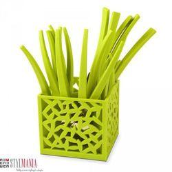 Sztućce z ażurowym stojakiem Vialli Design Mia zielono-biały 24 elementy