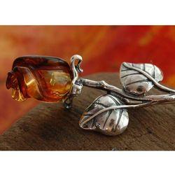 BURSZTYNOWA RÓŻA - broszka srebrna brosza