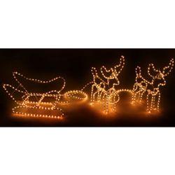 vidaXL Dekoracje świąteczne, świecące renifery i sanie Darmowa wysyłka i zwroty