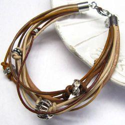 Skóra, elementy posrebrzane i metal - bransoleta