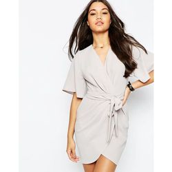 ASOS Obi Belt Wrap Mini Dress - Silver